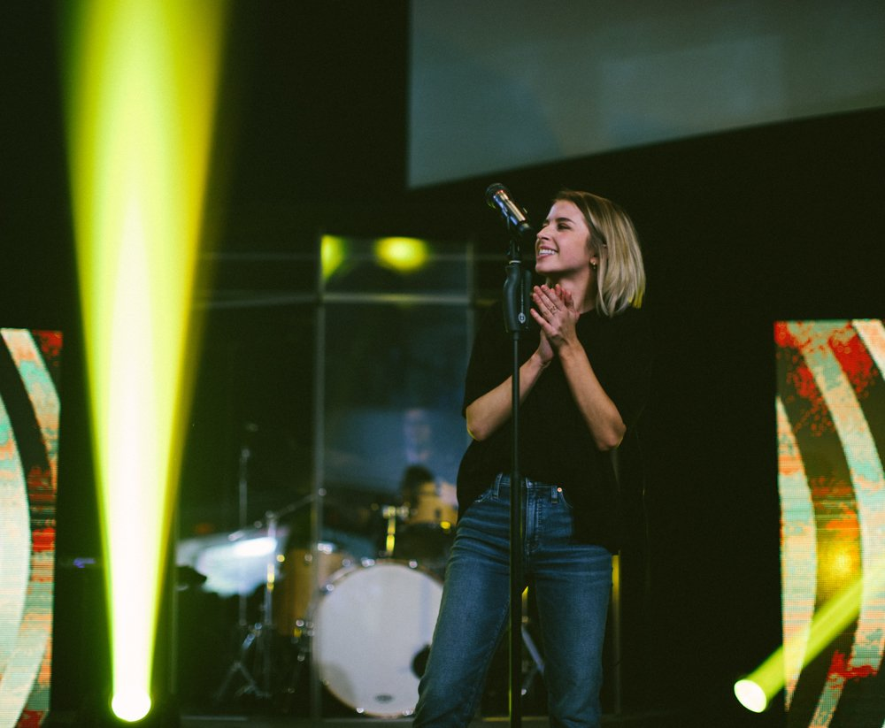Worship Leader, Tori Grubbs, leading during our West Service
