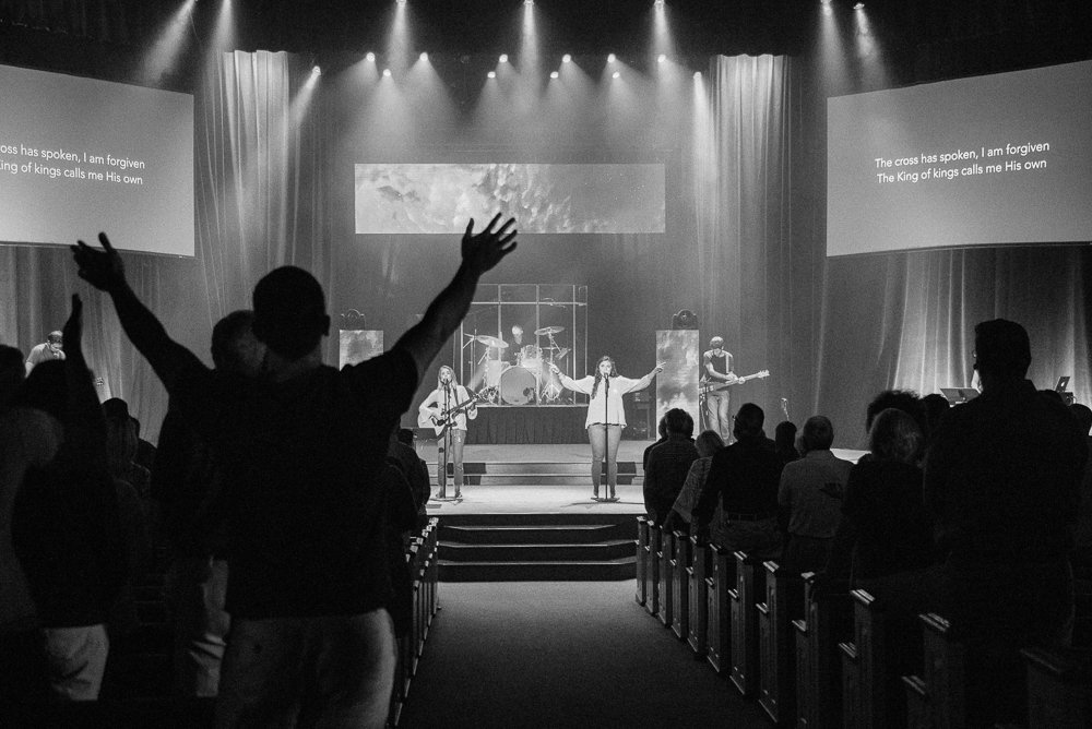 Congregation worshiping in West Service